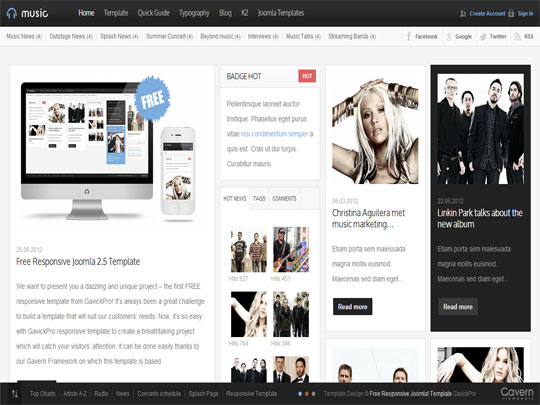 Music Free Joomla Template