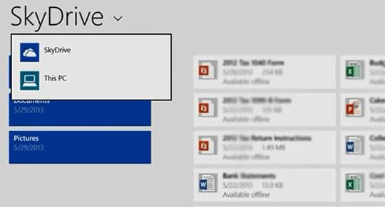 Windows 8.1 Cloud Storage Skydrive