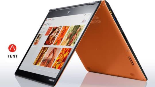 Lenovo Yoga 3 14 convertible laptop - orange tent mode