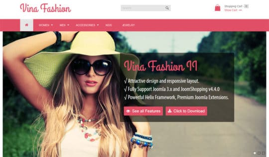Vina Fashion free joomla templates