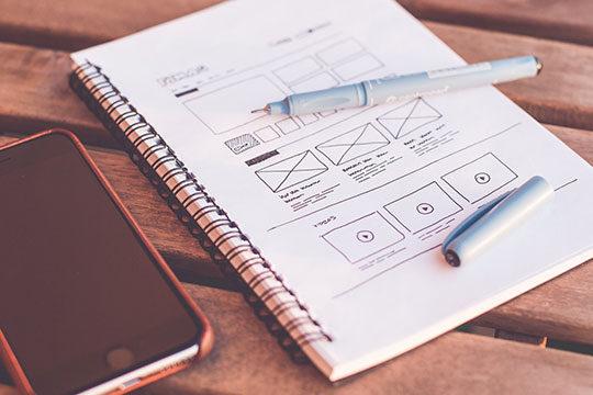 web-design--designer-desk-drawing-note-sketch-framework