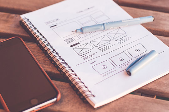 web-design--designer-desk-drawing-note-sketch-framework