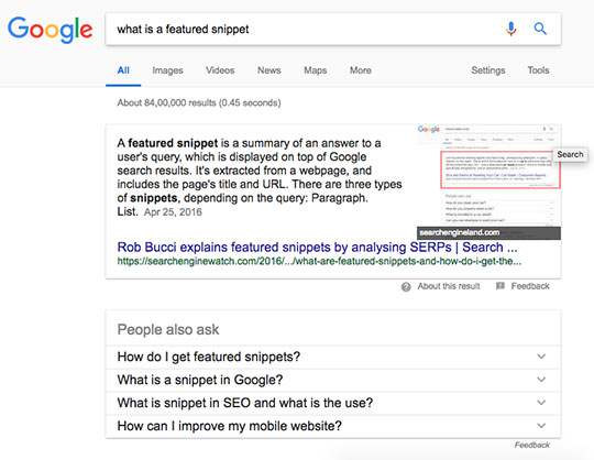 What is Google Featured Snippets