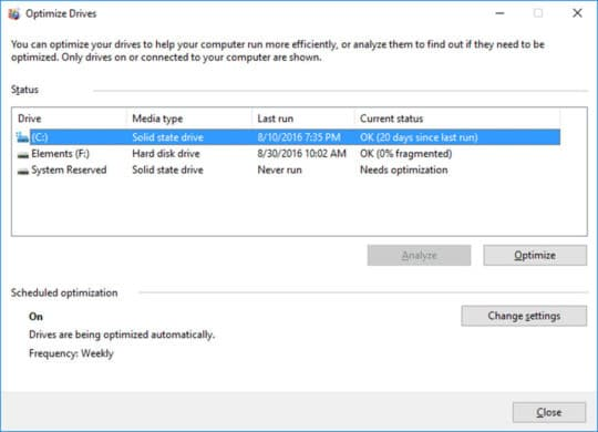 Windows 10 Optimize Drives