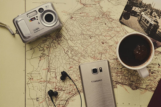technology-gadgets-camera-phone-headphone-map-travel