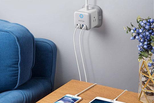 BESTEK 3-Outlet Vertical Cube Mountable Power Strip 4 USB Ports - 2