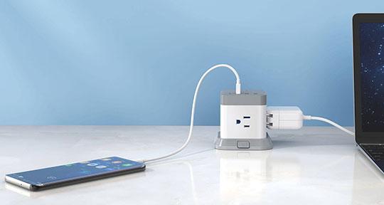 BESTEK 3-Outlet Vertical Cube Mountable Power Strip 4 USB Ports - 4