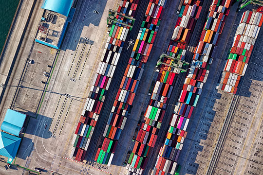 aerial-view-photography-container-van-drone-warehouse