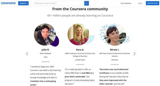 Coursera-landing-page-content