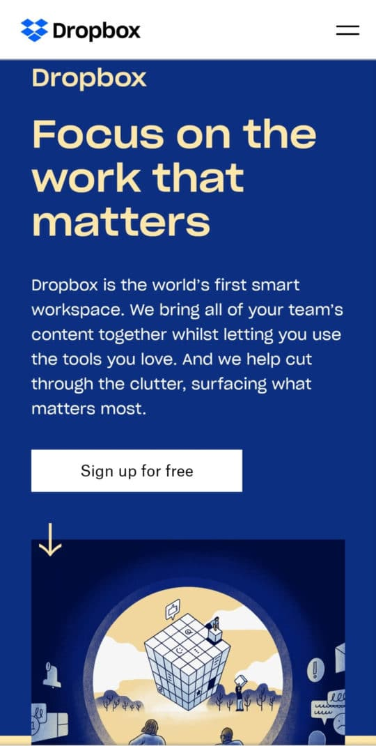 dropbox-screenshot-mobile-improve-quality-leads-landing-page-optimization