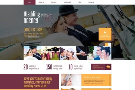 Wedding WordPress Theme by TemplateMonster